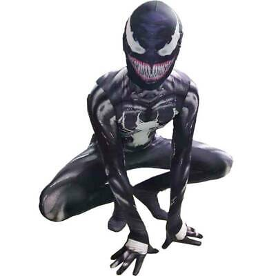 UK Boy Kids Venom Black Spiderman Superhero Cosplay Jumpsuit Fancy Dress Costume