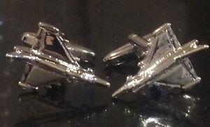 Fighter-Jet-Cufflinks-Gift-Bag-Silver-Rhodium-Metal-RAF-USAF-Military