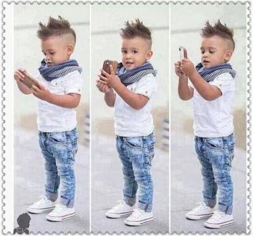 3PCS Toddler Kids Baby Boy Tops T-shirt Scarf Denim Pants Clothes Outfits Set US