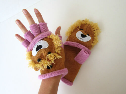 D/&Y Fairytale Animals Fingerless flip mittens Knitted gloves One Sz Fits Most