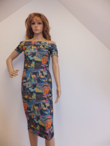 NEW WOMENS CAP SLEEVE OFF SHOULDER GRAFFITI PRINT STRETCH BODYCON DRESS S//M M//L