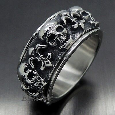 GOTHIC Men's Fleur De Lis Skull 316L Stainless Steel SPINNER Biker Ring