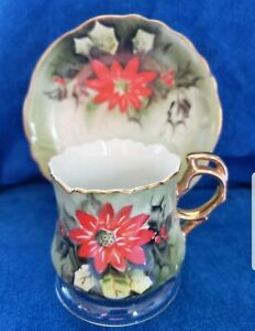 Lefton-Fine-Bone-China-Hand-Painted-Poinsettia-Tea-Cup-amp-Saucer-VINTAGE