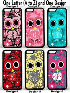 Cute-Owl-Flowers-Personalized-Monogram-Phone-Case-Cover-For-iPhone-4-5-6-7-8-X
