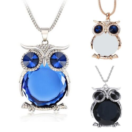 Women Fashion Cute Sapphire Crystal Owl Pendant Necklace Long Sweater Chain Gift