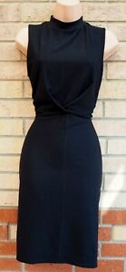 LIPSY-BLACK-HIGH-NECK-SLEEVELESS-TEXTURED-BODYCON-TUBE-FORMAL-WORK-DRESS-14-L