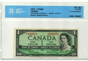 1954-1-BANK-OF-CANADA-LOW-SERIAL-0000770-VF-20-CERTIFIED-CCCS