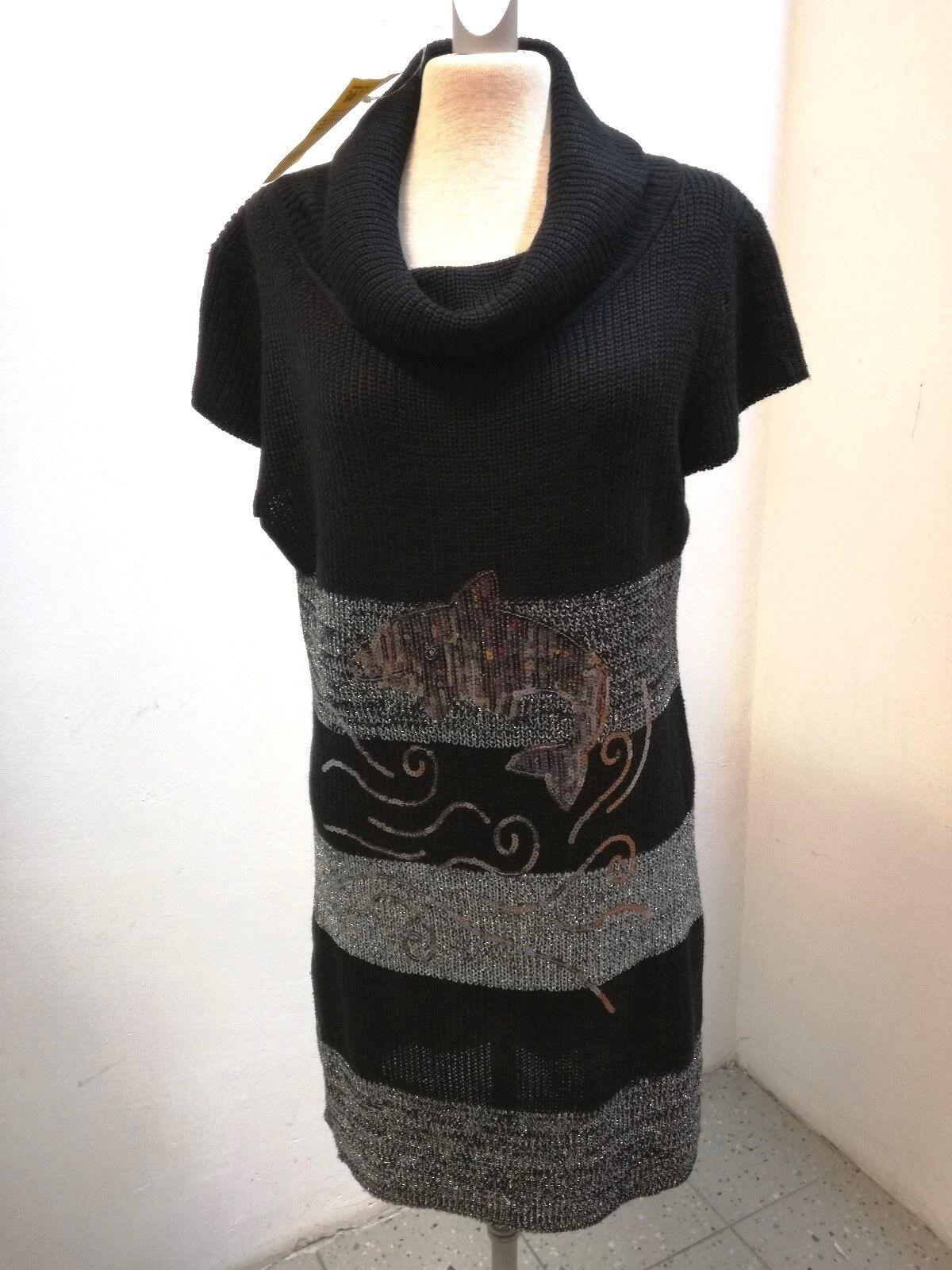 Kleid-Strick lg. Pulli1 8 Arm, weiter Rolli, Streifen  grau mit Lurex,  Delphin