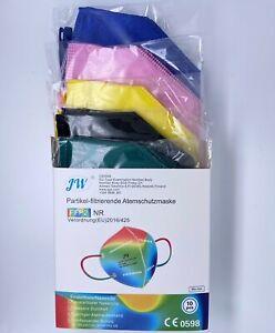 10 x FFP2 Maske Farbig bunt mix Blau Pink Schwarz Gelb Grün Atemschutz CE 0598