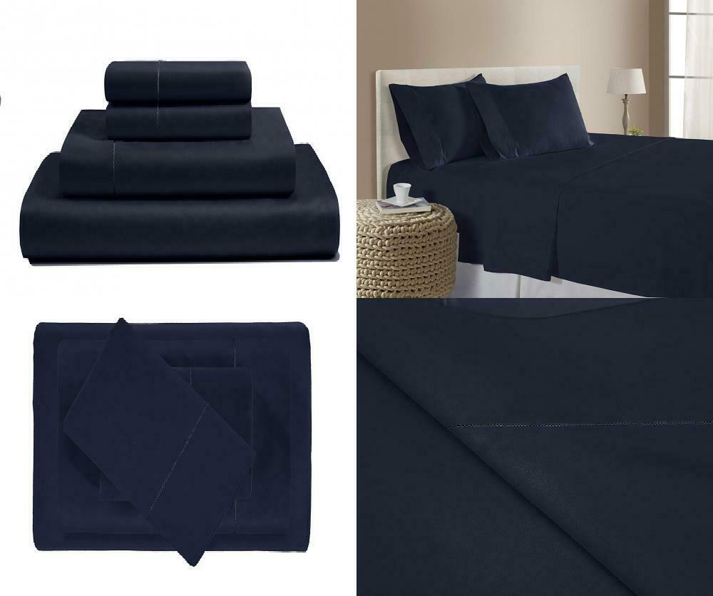 500 Thread Count Cotton Sheets Set - 100% Pima Queen, Navy (Solid)