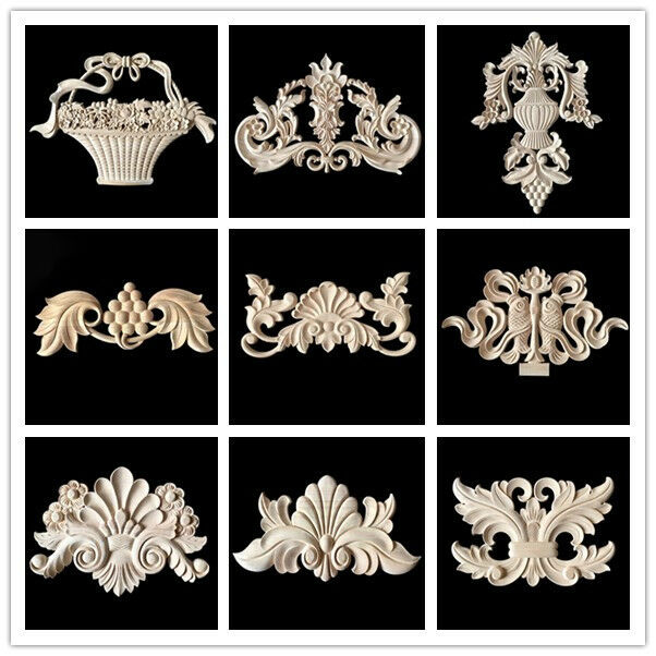Wooden Furniture Appliques Onlays Decorative Carving Moulding Large