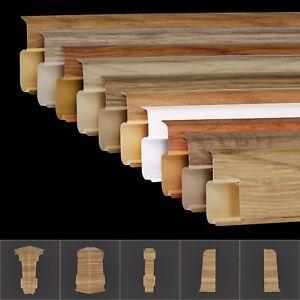 2 5m sockelleisten pvc 55mm mit kabelkanal laminat boden fussleisten parkett neu ebay. Black Bedroom Furniture Sets. Home Design Ideas