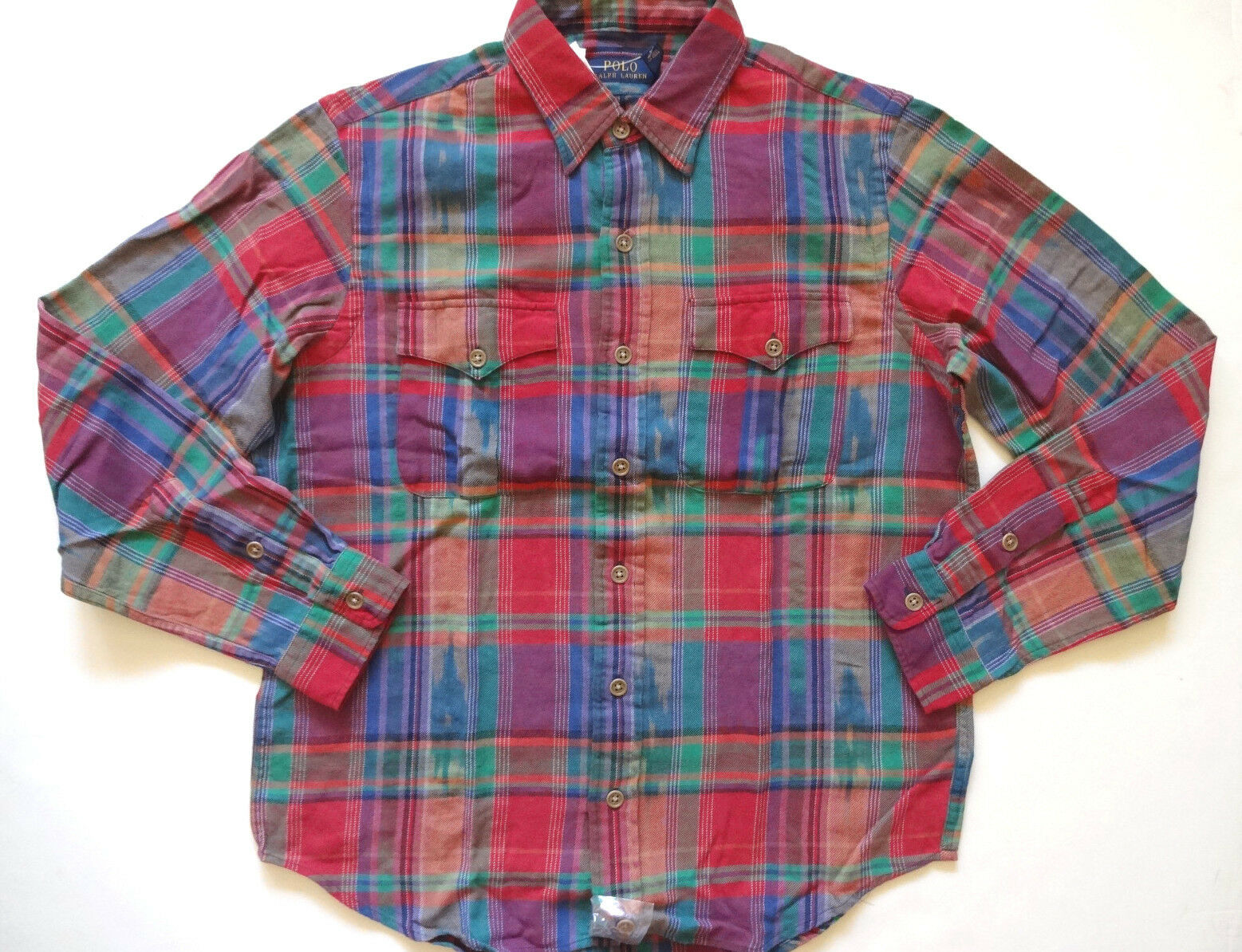 New Ralph Lauren Polo Autumn Multicolor Plaid 100% Cotton Button Up Shirt XL