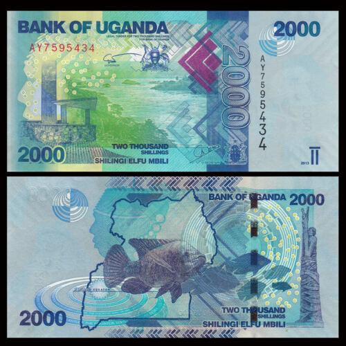 2000 Shillings Banknote P-50 50d New:Uganda 2017 UNC  Fish New Signature