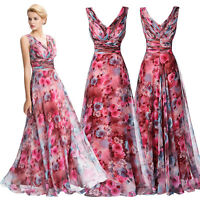 Women Evening Formal Floral Party Cocktail Dress Prom Gown Long Dresses UK 4-18
