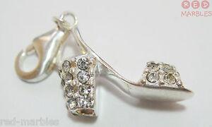 Plata De Ley 925 Auténtica Tradicional Talismán Zapato Con Diamante Piedras