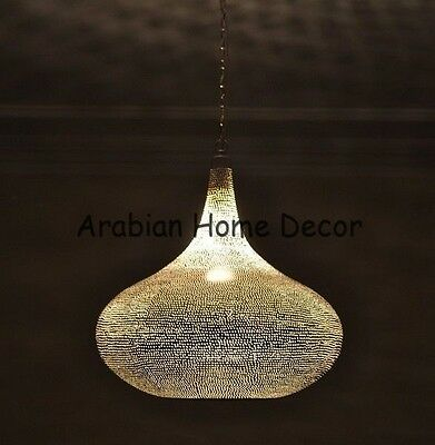 Handcrafted Moroccan Silver Plated Brass Lighting Hanging Lamp