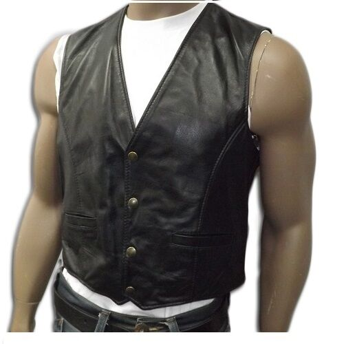 Vest Leather Men's, Real Italian  Craftsmanship Model Ma nes  low prices