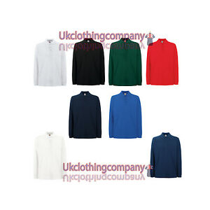 Fruit-Of-The-Loom-Premium-Long-Sleeve-Polo-Mens-039-polo-tops-S-M-L-XL-2XL-3XL