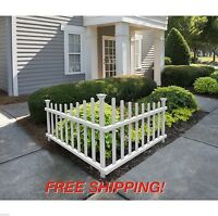 White Corner Fence Picket Vinyl Pvc Angled Driveway Garden Accent Outdoor Set