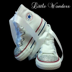 bc7a3431cdc8 Image is loading Swarovski-Rhinestone-Baby-Girl-Toddler-White-Converse-Shoes