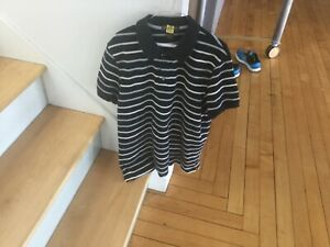Banana-Republic-Polo-Shirt-a-manches-courtes-a-rayures-pour-homme-2XL-Slim-Noir-Blanc