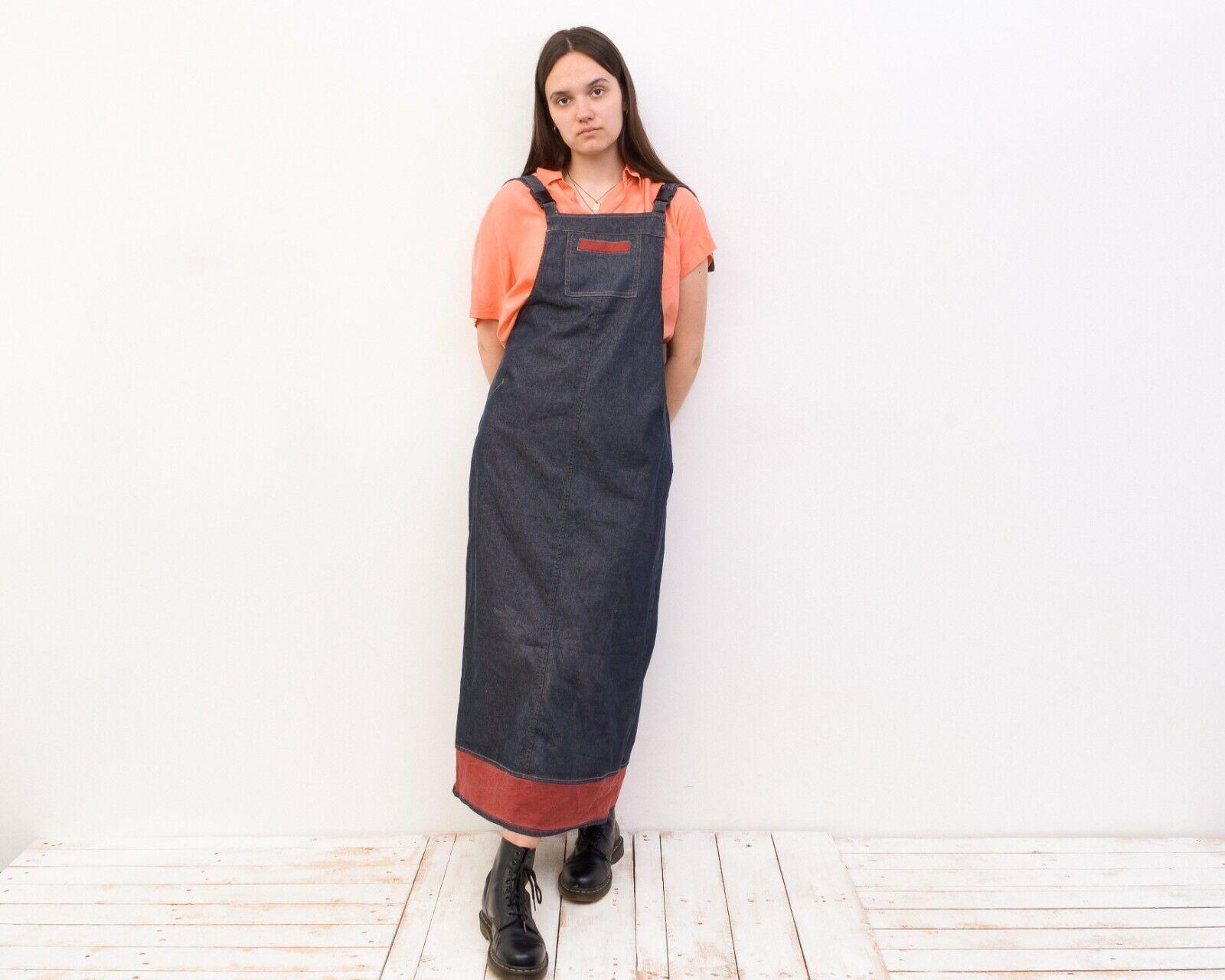 Women's L Denim Dungaree Long Sarafan Dress Summe… - image 3