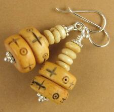 Tibetan buffalo bone earrings. White cream. Big. Sterling silver hooks 925.