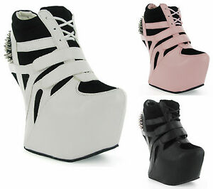 WEDGE-TRAINERS-MEGA-PLATFORM-CURVE-OUT-HEEL-LESS-SPIKE-STUDS-GAGA-ANKLE-BOOTS-UK