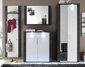 garderobe garderoben set weiss esche grau mit schrank. Black Bedroom Furniture Sets. Home Design Ideas