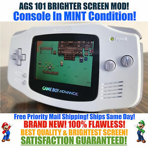 Details about Nintendo Game Boy Advance GBA White System AGS 101 Brighter  Backlit Mod MINT