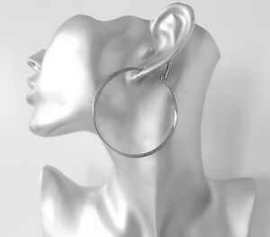 "Beautiful 5cm 2/"" silver tone patterned  triple row hoop earrings,"