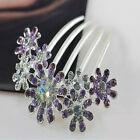 Women Crystal Rhinestone Petal Tuck Comb Flower Hair Pin Hair Clip Hairpin e