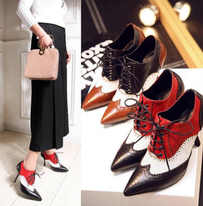 Oxford para mujeres Dama Tacones Tacones Tacones De Aguja botas al Tobillo Zapatos Taco Alto Aguja Puntera Puntiaguda  compra en línea hoy