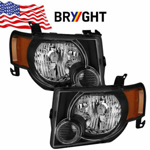 For 08-12 Ford Escape Replacement HeadLights Lamps Corner Left+Right Black Amber
