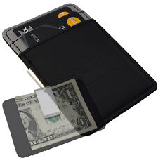 Mens Silver Money Clip Wallet -Boss Black Grey- Faux Leather Cash Card Holder V1