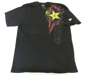 Fox Racing X Rockstar Energy Drink Graphic Black T-Shirt Adult Mens ... e68e78ec30