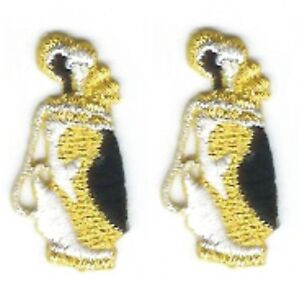 Lot 2 Metallic Gold White Black Golf Bag Clubs Embroidered Patch