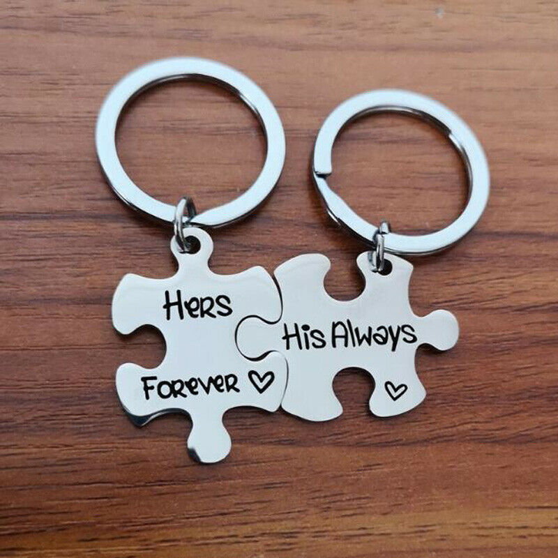 2 Pcs Keyrings Puzzle Set His Always Hers Forever Keychain Lover Valentine/'s Day