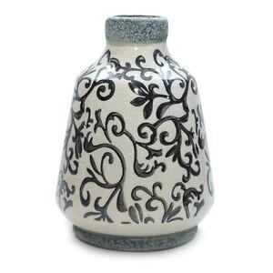 vase siena schwarz wei keramik craquelliert dekovase landhaus shabby chic 20 cm ebay