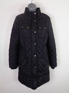 WOMENS-BHS-BLACK-ZIP-BUTTON-UP-CLASSIC-CASUAL-WINTER-QUILTED-JACKET-COAT-UK-10