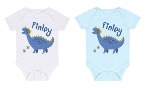 Babies Personalised Name Blue Dinosaur Bodysuit Printed Customised Boys Gift