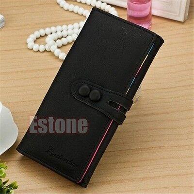 Women Leather Card Holder Case Wallet Long Clutch Button Ladies Checkbook Purse