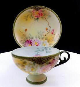 """NIPPON APPLE BLOSSOM STAMP WHITE & PINK FLORAL BEADED RIM 2 3/8"""" CUP & SAUCER"""