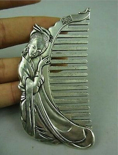 China Collectible Old Miao Silver Hand-carved beauty Belle Usable Comb