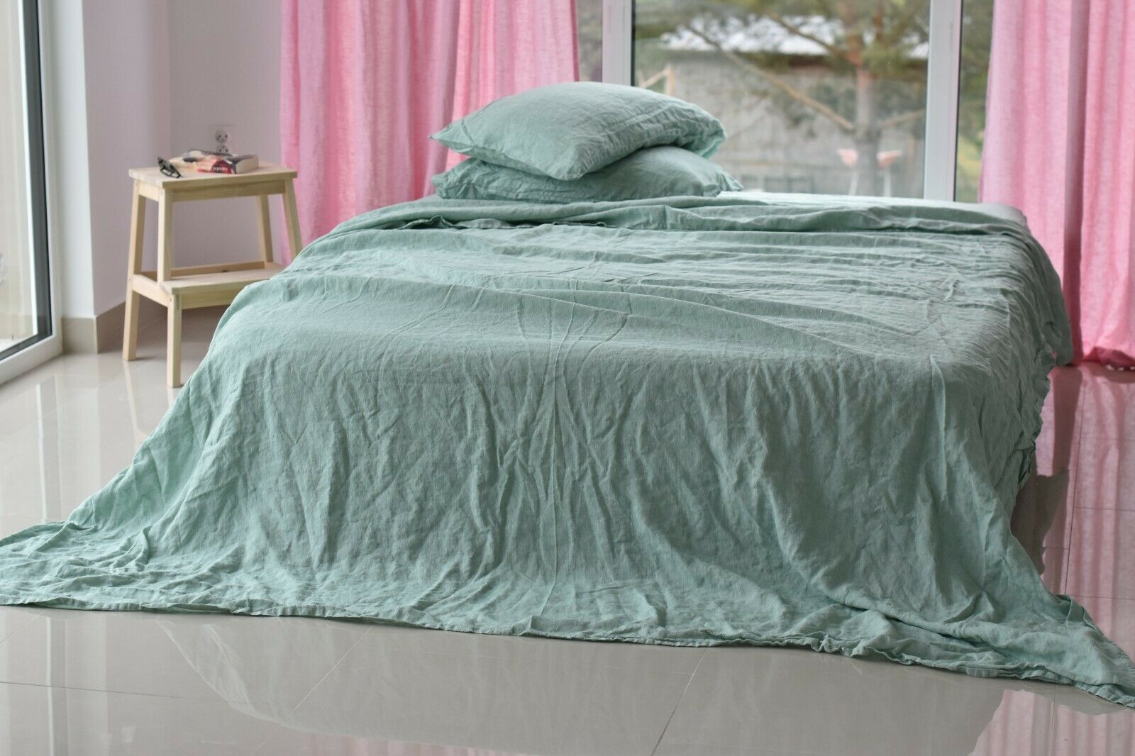 LINEN SHEET SET in a melange Grün Queen King Twin linen bedding set Luxury Eco