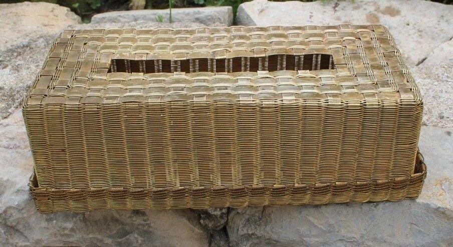 Rare distributeur de serviettes mouchoir  en fil de laiton ou bronze tresse