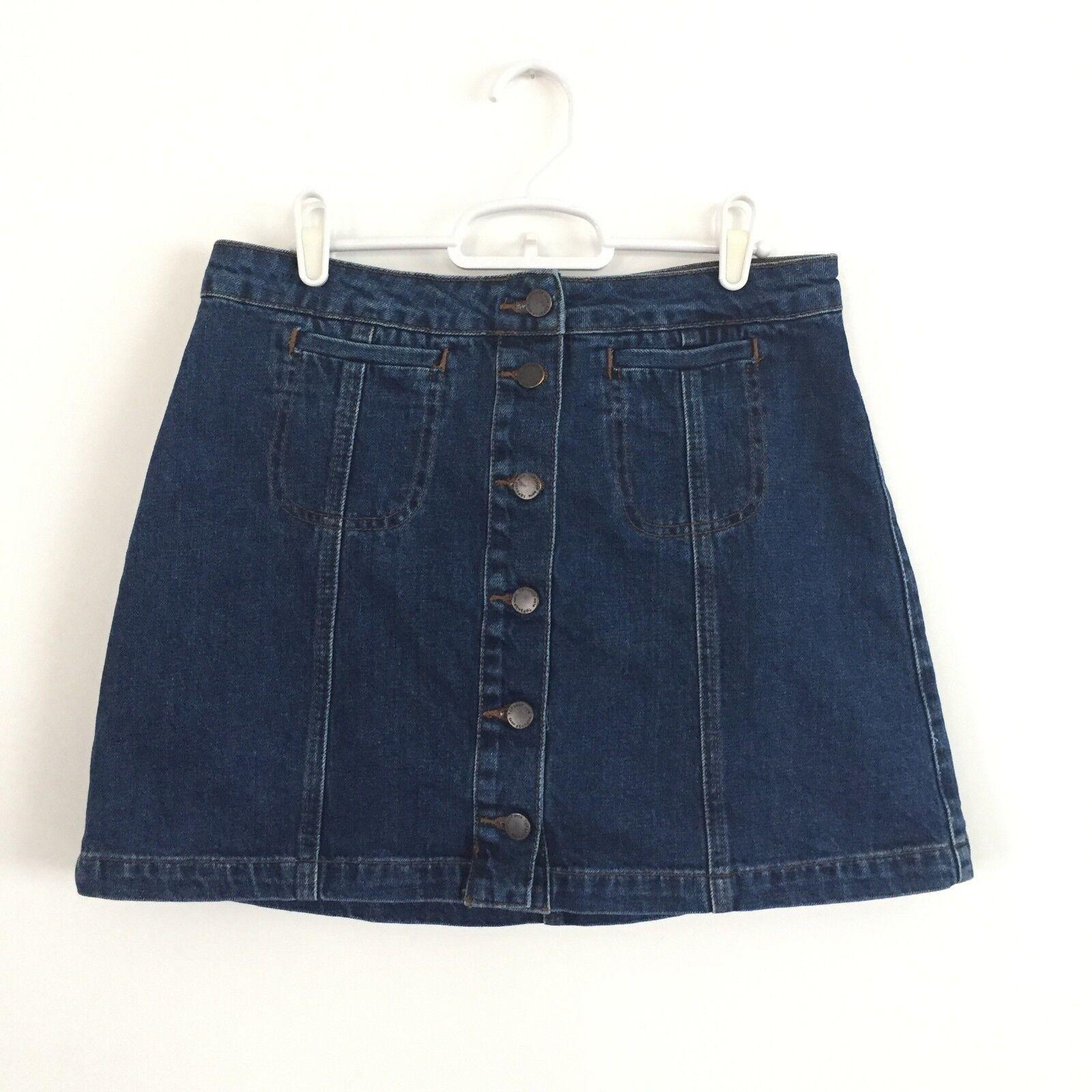 TOPSHOP Button Front Blue Denim Skirt A-Line Cott… - image 4