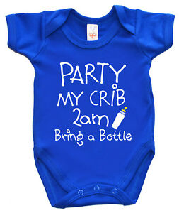 "Funny Babygrow Vest ""Party My Crib 2am bring a Bottle"" Bodysuit Gift"