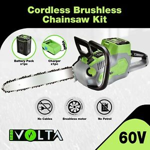 Neovolta 60v Cordless Brushless Chainsaw Kit Lithium Ion Batteries Rechargeable